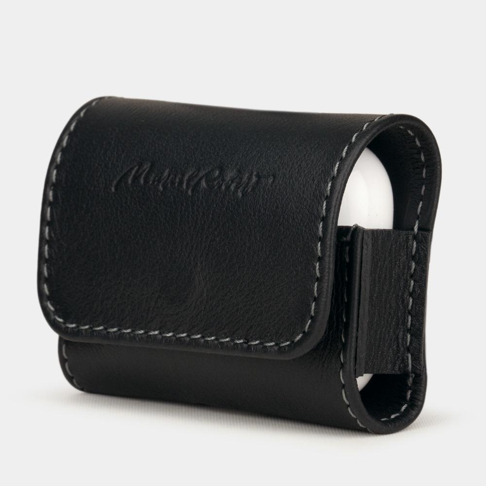 Чехол-держатель для наушников Grand Easy из натуральной кожи теленка, черного цвета