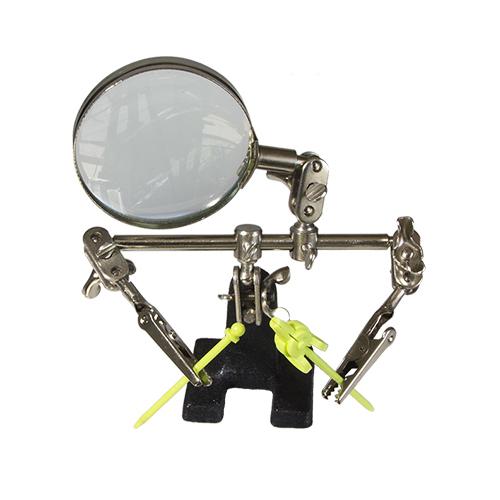 Подставки, держатели для краскопульта Подставка-держатель с увеличительным стеклом, 2 зажима JAS J-1361.jpg