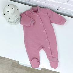 Комбинезон из футера, воротничок-стойка (цвет розовый зефир)