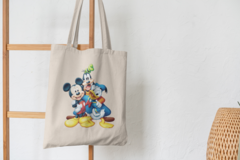 Сумка-шоппер с принтом Микки Маус, Гуфи, Дональд Дак (Mickey Mouse, Goofy, Donald Duck) бежевая 0010