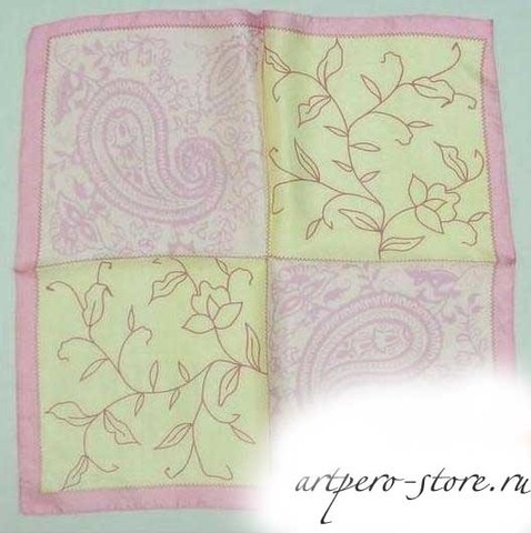 Квадратный платок, атлас (100% шёлк) (огурцы)