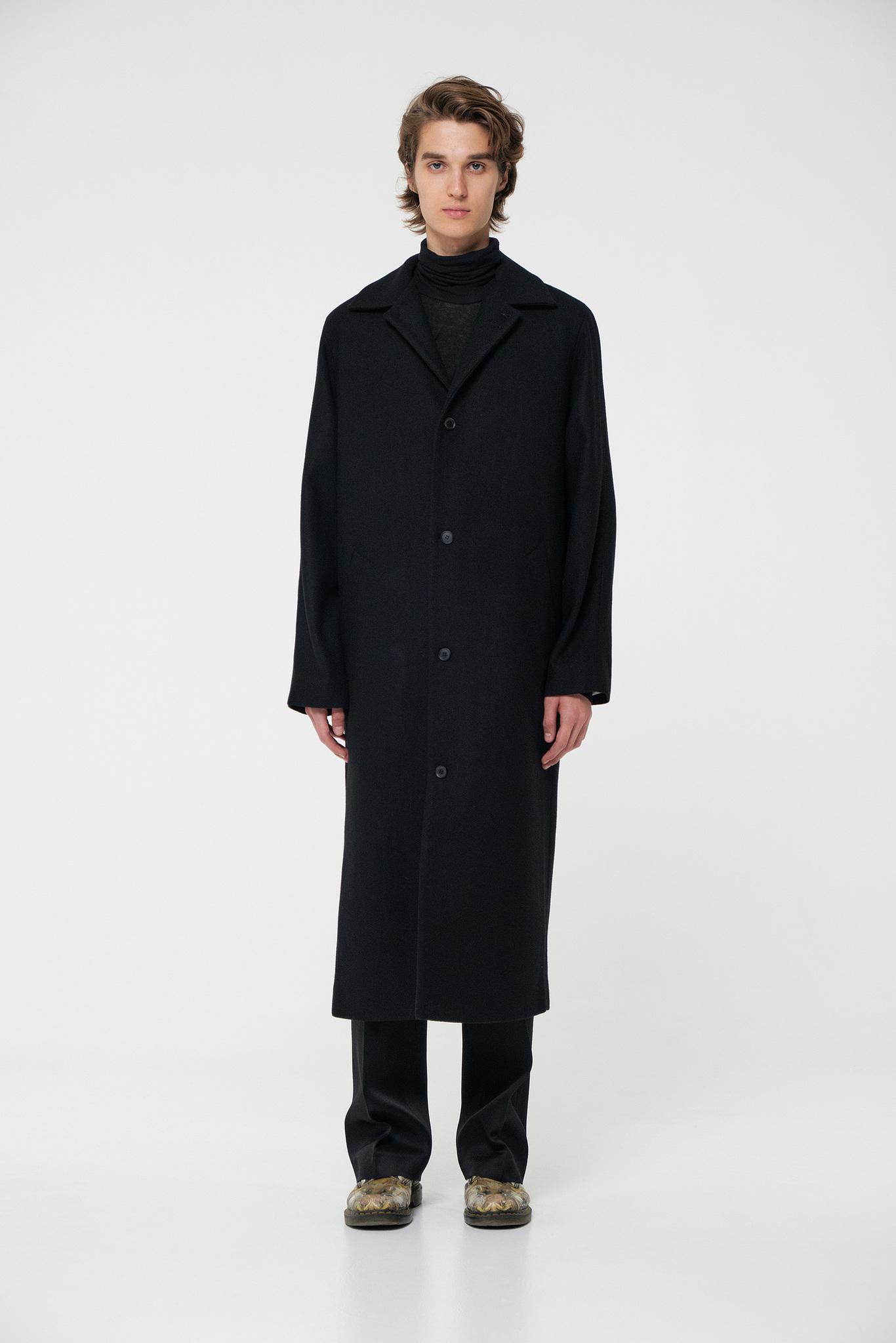 Пальто комбинированной конструкции длинное