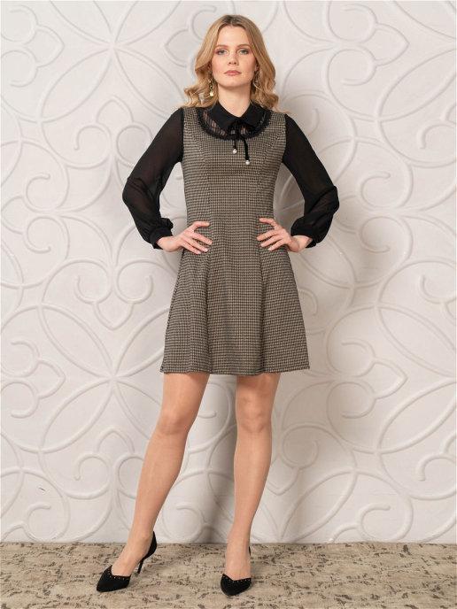Платье 10856C черный-серый
