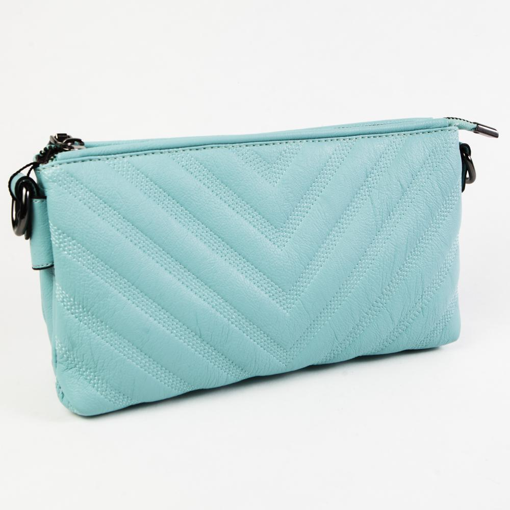 Маленький стильный женский повседневный клатч сумочка голубого цвета из экокожи Dublecity DC807-5 Blue