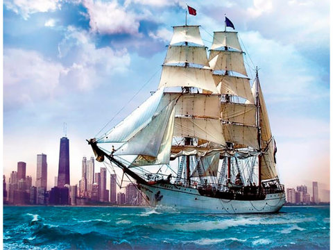 Алмазная Мозаика 40x50 Корабль на фоне города