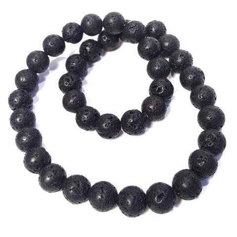 Бусины лава матовая шар 10 мм черная