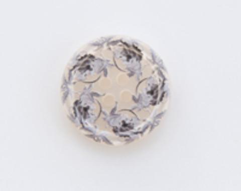 Пуговица пластиковая, полупрозрачная, бежевая с серыми узорами, 4 отверстия, 23 мм