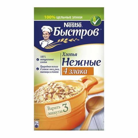 Хлопья БЫСТРОВ 4 злака 350 гр кор Nestle РОССИЯ