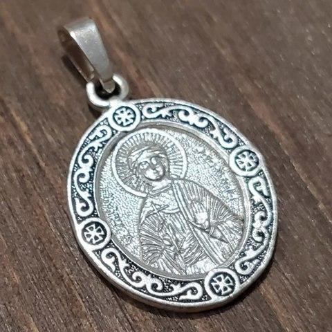 Нательная именная икона святая Надежда с серебрением кулон медальон с молитвой