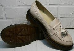 Кожаные женские туфли бежевого цвета Markos S-6 Light Beige.