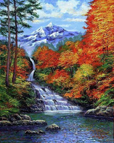 Картина раскраска по номерам 30x40 Водопад в горах осенью
