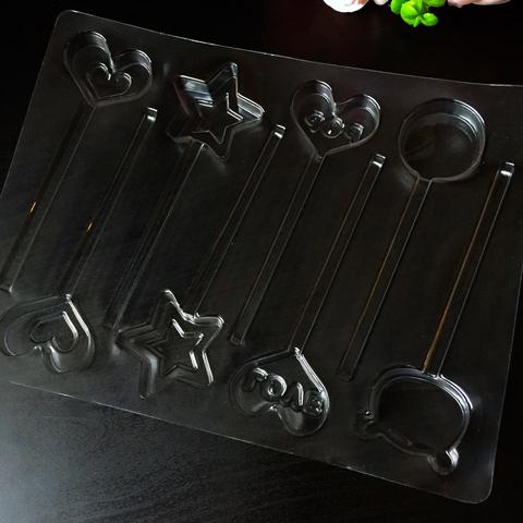 Пластиковая форма для шоколада бол. ЛЕДЕНЕЦ НА ПАЛОЧКЕ РАЗНЫЕ ФИГУРКИ 8в1 (размер 30х40мм)