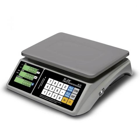 Весы торговые настольные Mertech M-ER 328AC-15.2 TOUCH-M, LCD/LED, АКБ, 15кг, 2гр, 325х230, с поверкой, без стойки
