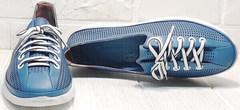 Уожаные сникерсы женские кроссовки лето кэжуал стайл Wollen P029-2096-24 Blue White.