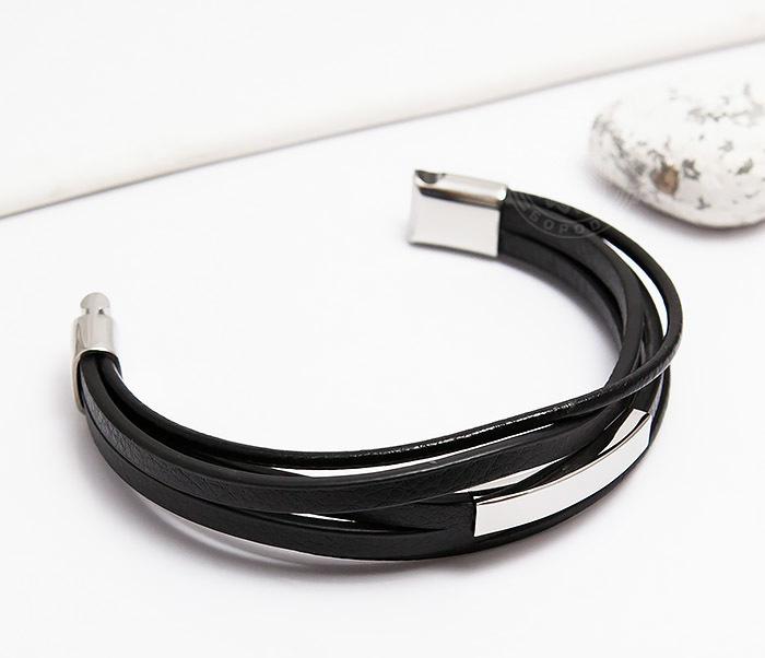 BM445-1 Оригинальный браслет из кожаных полос и шнуров (20 см) фото 03
