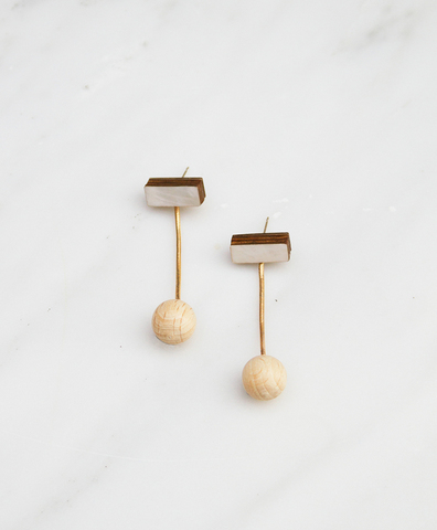 Серьги Drop Sphere Studs Mother of Pearl