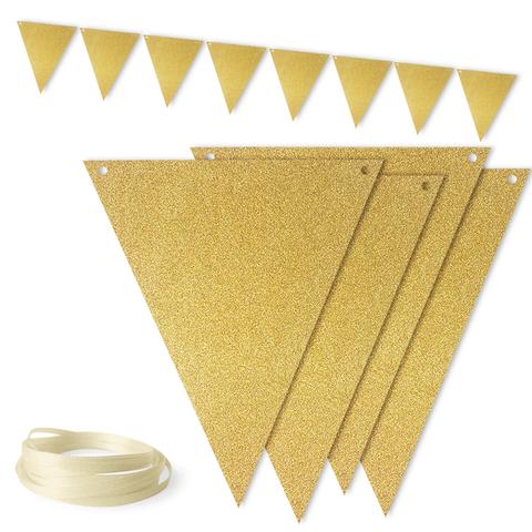 Гирлянда-флажки, глиттер, золото