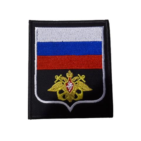 Шеврон нарукавный ВМФ (черный,желтый якорь,белый кант)