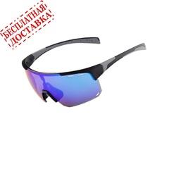 Очки солнцезащитные XQ546, (черный матовый / синие revo) +3 доп. линзы