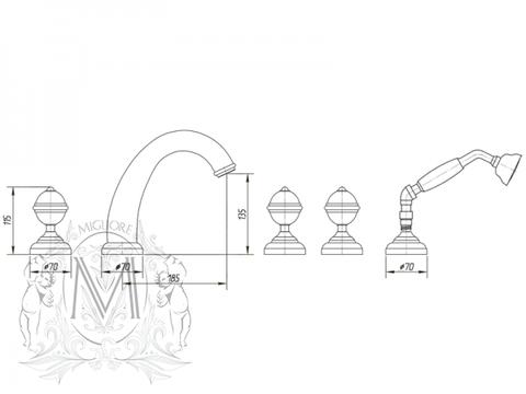 Смеситель на борт ванны 5 отв. Cristalia Swarovski ML.CRS-3780 схема