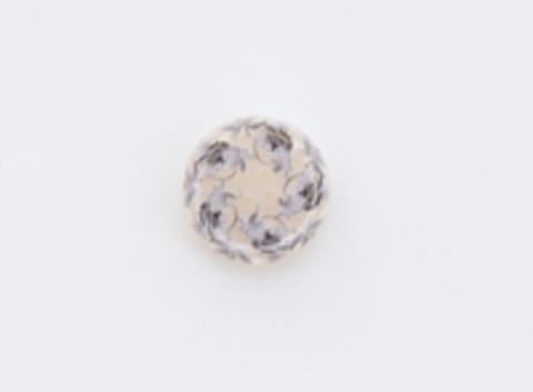Пуговица пластиковая, полупрозрачная, бежевая с серыми узорами, 4 отверстия, 17 мм