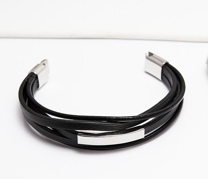 BM445-1 Оригинальный браслет из кожаных полос и шнуров (20 см) фото 04