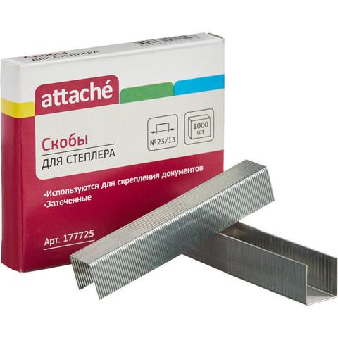 Скобы канцелярские для степлера №23/13 Attache оцинкованные (1000 штук в упаковке)