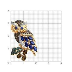 740235 - Брошь Сова из золота с миксом камней