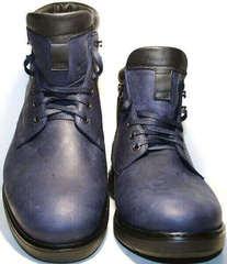 Высокие ботинки мужские зимние кожаные. Классические ботинки с мехом. Синие ботинки на шнуровке Ікос BlueBlack.43 (29 см)