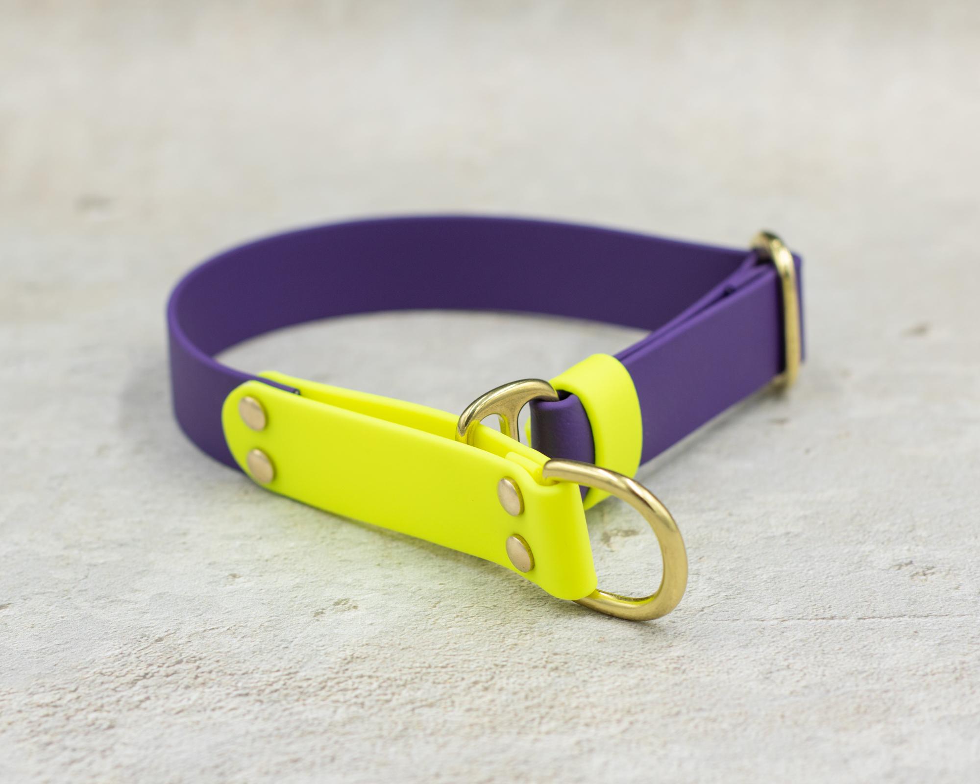 Ошейник из стандартного биотана. Фиолетовый & Неоновый желтый
