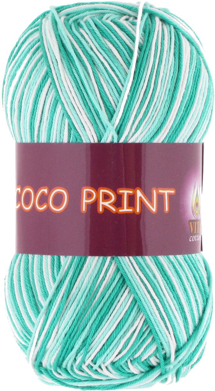 Пряжа Vita CoCo Print зеленая бирюза 4675