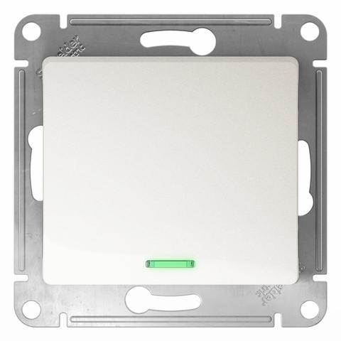 Переключатель одноклавишный с подсветкой, 10АХ. Цвет Перламутр. Schneider Electric Glossa. GSL000663