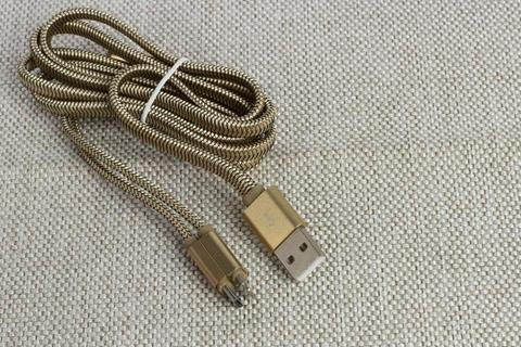USB Кабель  LDNIO LC86 2 в 1 Iphone , micro USB gold