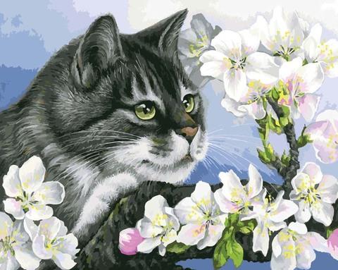 Алмазная Мозаика 40x50 Серый кот на цветущей ветке