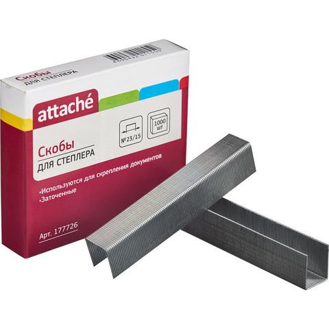 Скобы канцелярские для степлера №23/15 Attache оцинкованные (1000 штук в упаковке)
