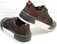 Модные осенние кроссовки для повседневной ходьбы мужские Luciano Bellini C6401 MC Bordo.