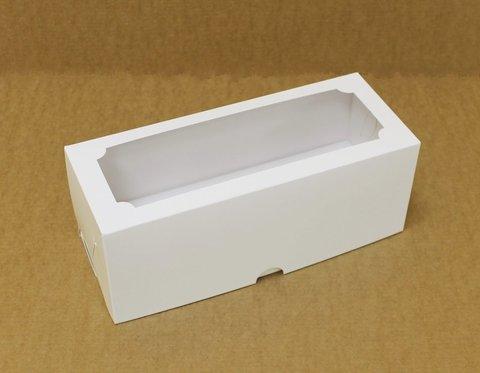 Коробка для 3 капкейков 25*10*10 с окном, белая
