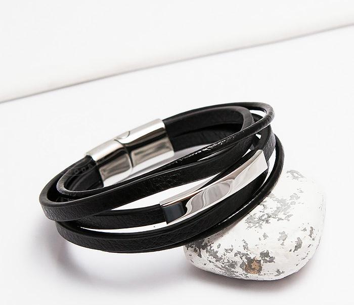 BM445-1 Оригинальный браслет из кожаных полос и шнуров (20 см) фото 05