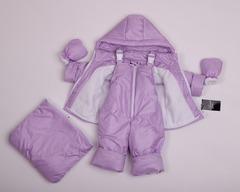 Демисезонный комбинезон тройка для малышей 0-2 года Look сирень