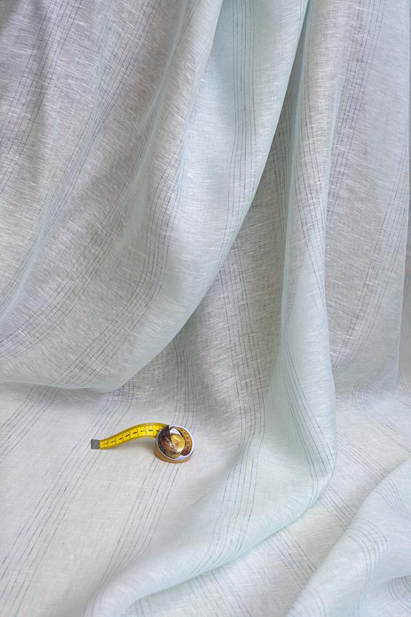 Льняная вуаль БИРЮЗОВО-СЕРАЯ меланжевая полоска