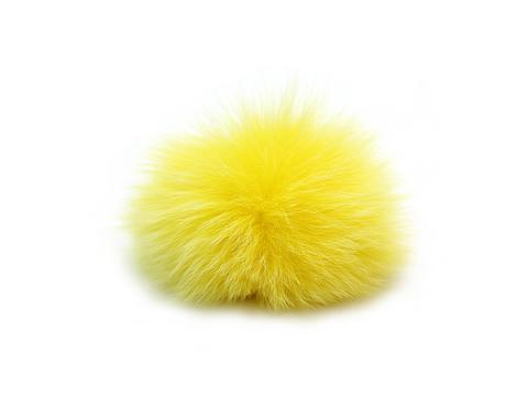 Помпончики из меха кролика,желтые
