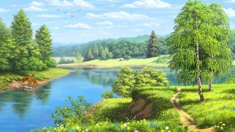 Картина раскраска по номерам 30x40 Животные на водопое