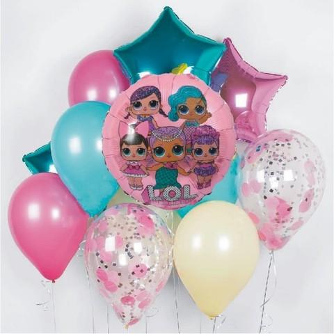 Фонтан из воздушных шаров Куклы Лол