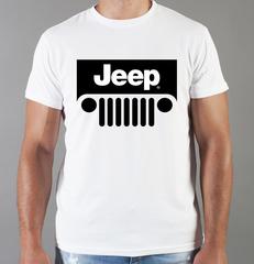 Футболка с принтом Jeep (Джип) белая 002