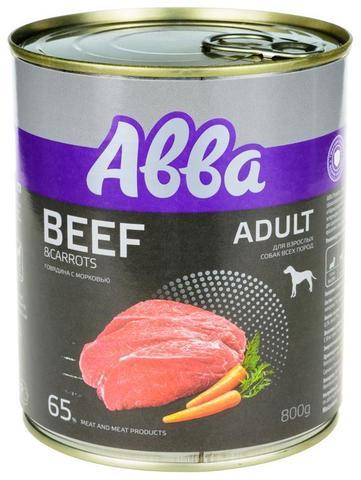 ABBA Premium консервы для собак средних и крупных пород, с говядиной и морковью 800 гр.