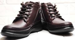 Осенние ботинки сникерсы женские кожаные Evromoda 535-2010 S.A. Dark Brown.