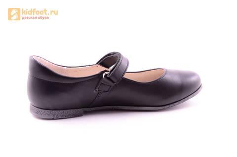Туфли для девочек из натуральной кожи на липучке Лель (LEL), цвет черный. Изображение 4 из 18.