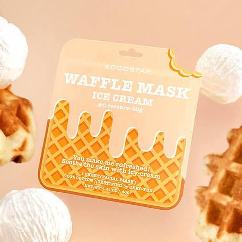 Освежающая и смягчающая вафельная маска для лица «Сливочное мороженое»