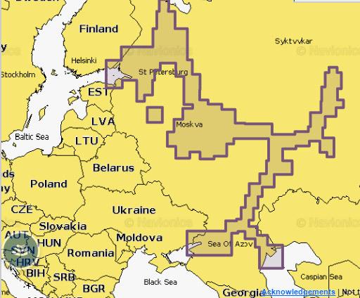 Область покрытия карты глубин Внутренних водных путей РФ
