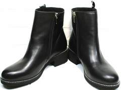 Черные женские полусапожки осень Jina 6845 Leather Black.